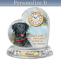 Black Labrador Crystal Heart Personalized Clock