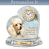 Poodle Crystal Heart Personalized Clock