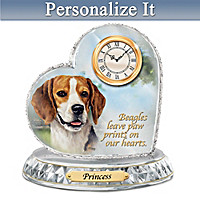 Beagle Crystal Heart Personalized Clock