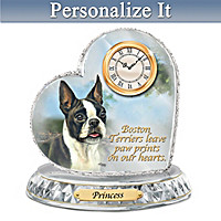 Boston Terrier Crystal Heart Personalized Clock