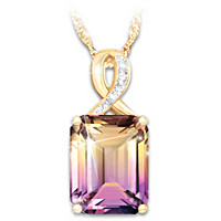 Sunset Oasis Ametrine And Diamond Pendant Necklace