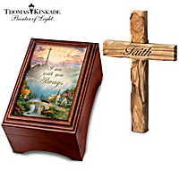 Thomas Kinkade Holy Land Olive Wood Prayer Cross