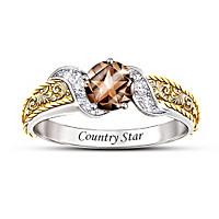Country Star Quartz And Diamond Ring