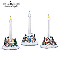 Holiday Lights, Spirits Bright Village Candleholders