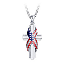 God Bless America Diamond Pendant Necklace
