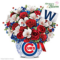 Let\'s Go Cubbies Illuminated Crystal Table Centerpiece