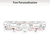 Grandma's Heart & Joy Personalized Birthstone Bracelet