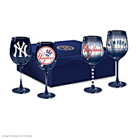 Yankees Pride Wine Glass Set