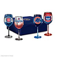 Cubs Pride Wine Glass Set