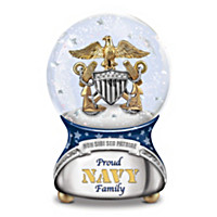Proud Navy Family Glitter Globe