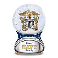 Proud Navy Family Glitter Globe