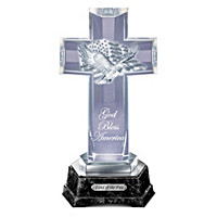 God Bless America Illuminated Glass Cross Sculpture