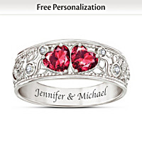 Heart To Heart Personalized Diamond Ring