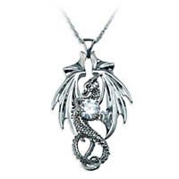 Fire And Ice Dragon Pendant Necklace