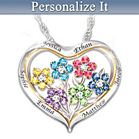 Our Family Is A Garden Of Love Personalized Pendant Necklace