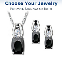 Black Velvet Pendant Necklace And Earrings Set