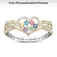 Our Family Is A Garden Of Love Personalized Ring