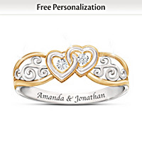 Two Hearts Together In Love Personalized Diamond Ring