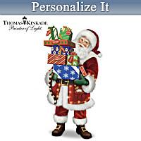 Thomas Kinkade Bringing Christmas Cheer Santa Sculpture
