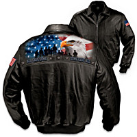 America\'s Heroes Men\'s Leather Jacket