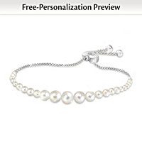 Grandma's Pearls Of Wisdom Personalized Diamond Bracelet