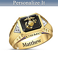 Salute To The USMC Personalized Diamond Ring