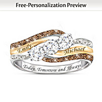 Today And Always Personalized Diamond & Topaz Ring