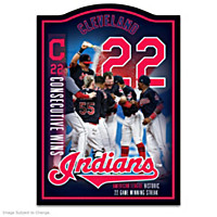 Cleveland Indians 22 Historic Wins Commemorative Wall Decor