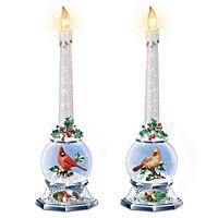 Merry Messengers Snowglobe Candleholder Set