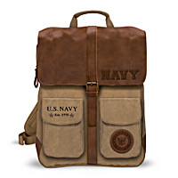 U.S. Navy Canvas And Leather Backpack