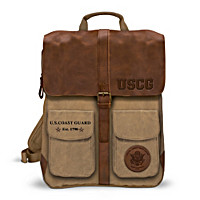U.S. Coast Guard Canvas And Leather Backpack