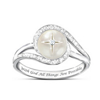God\'s Pearl Of Wisdom Mother-Of-Pearl And Diamond Ring