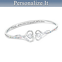 Two Hearts Together, Family Forever Personalized Bracelet