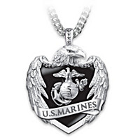 USMC Eagle Shield Pendant Necklace