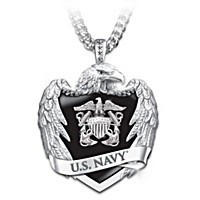 U.S. Navy Eagle Shield Pendant Necklace