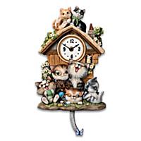 Frolicking Felines Cuckoo Clock