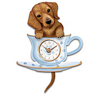 Dachshund Pup In A Cup Wall Clock