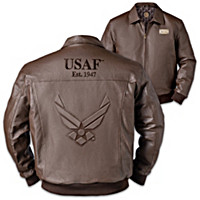 U.S. Air Force Pride Men's Embossed Leather Jacket