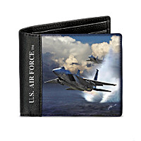 Air Force Fighter Jet RFID Leather Wallet