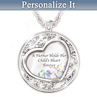 Mother Holds Her Child\'s Heart Personalized Pendant Necklace