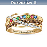 Sweet Life Personalized Diamond And Birthstone Ring