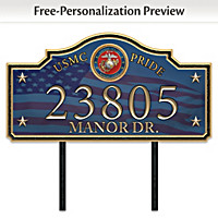 USMC Pride Personalized Outdoor Address Sign