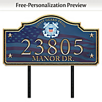 Coast Guard Pride Personalized Address Sign