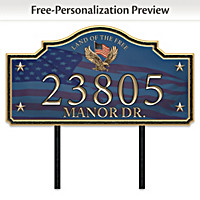 Home Of The Free Personalized Address Sign