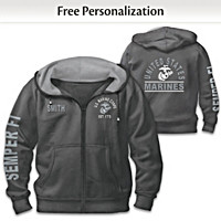 Ready At The Reveille USMC Personalized Men's Hoodie
