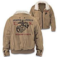 USMC Men\'s Khaki Twill Bomber Jacket