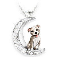 I Love My Pit Bull To The Moon And Back Pendant Necklace