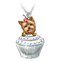 Sweetest Pupcake Yorkie Pendant Necklace
