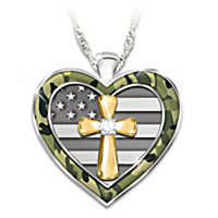 My Country, My Faith Diamond Pendant Necklace