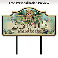 Warm Yorkie Welcome Personalized Address Sign